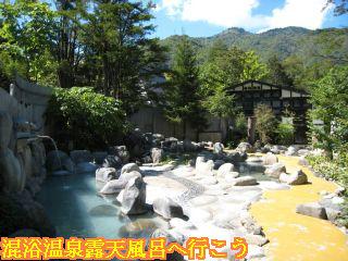 ひらゆの森露天風呂入口側を望む景色