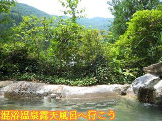 石動の湯露天風呂から見える山々の景色