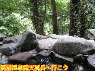 露天風呂と鶴仙渓の川と新緑の木々の景色