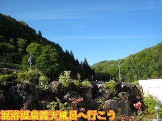 露天風呂から見える景色の山々の新緑